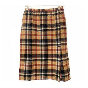 Vntg 70s Plaid Pencil Skirt Wool Blend Buttons 2X